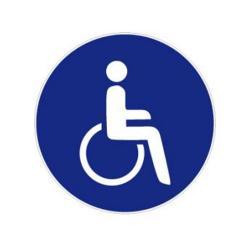 """Restposten - Gebots-Zeichen - """"Für Rollstuhlfahrer"""" - Folie - Durchmesser 5 cm - Dicke 0,3 mm - nach BGV A8"""