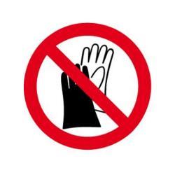 """Restpost - Forbudstegn - """"Handsker forbudt"""" - diameter 5 cm - tykkelse 1 mm - plast - kan bruges indendørs og udendørs"""