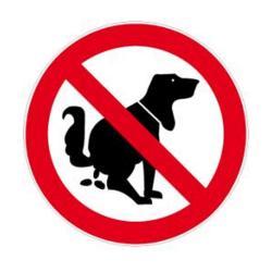 """Restposten - Verbotszeichen - """"Kein Hundeklo"""" - Durchmesser 10 cm - Dicke 0,3 mm - Folie - selbstklebend - im Innen- und Außenbereich einsetzbar"""