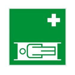 """Restposten - Rettungszeichen - """"Krankentrage"""" - Seitenlänge 20 cm - Dicke 1 mm - DIN 67510 - Kunststoff - nachleuchtend - Innen- und Außenbereich"""