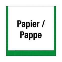 """Restposten - Umwelt-Schild - """"Sammelbehälter für Papier / Pappe"""" - Folie (selbstklebend) - Seitenlänge 10 cm - Dicke 0,3 mm - im Innen- und Außenbereich einsetzbar"""