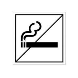 """Dörrdekal - """"rökning förbjuden"""" - plast - sidolängd 10 cm"""