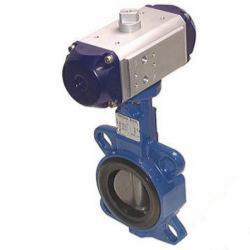 Restposten - Absperrklappe -  pneumatischem Antrieb - Feder-schließend - Einbaulänge 56 mm - Ø 150 mm - Manschette EPDM