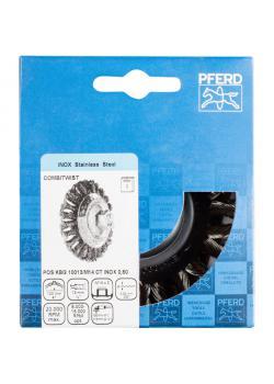 Kegelbürste - PFERD COMBITWIST® - mit Gewinde, gezopft - mit Edelstahldraht - POS-Verpackung