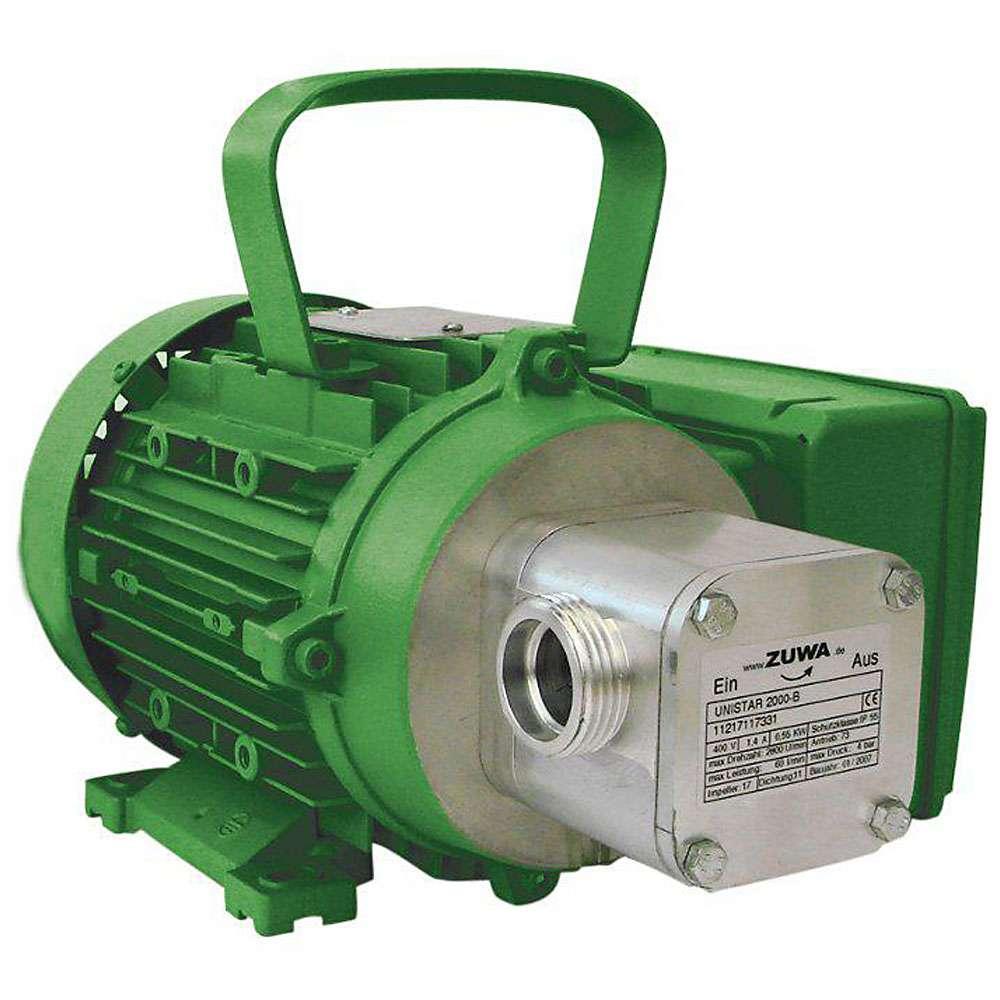 Impellerpumpe UNISTAR 2000-B - max. 60 l/min - 5 bar - 3000 U/min - nicht abrasive Medien - elektrischer Antrieb