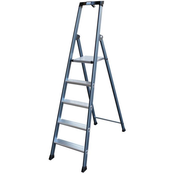 """Stufen-Stehleiter """"SePro"""" - Krause - eloxiert - Standhöhe 0,60 - 1,70 m"""