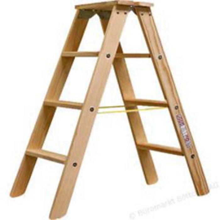 Stufen-Doppelleiter - Krause - Holz - bis 2,20 m Leiterhöhe