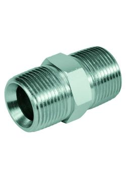 """Double connector - chrome-plated steel - male NPT thread 1/8 """"to 2"""" to male NPT thread 1/8 """"to 2"""""""