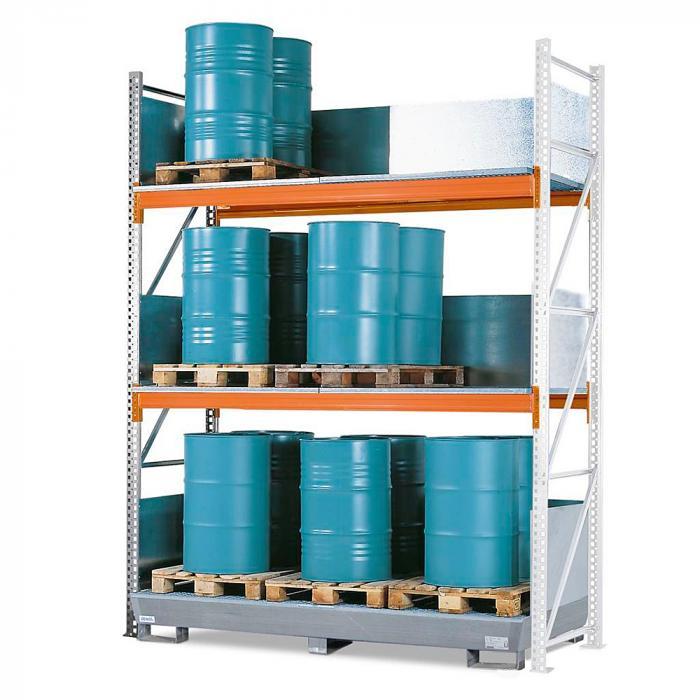 Combi-Regal 4 S24-I - mit Auffangwanne - für 24 Fässer à 200 Liter stehend