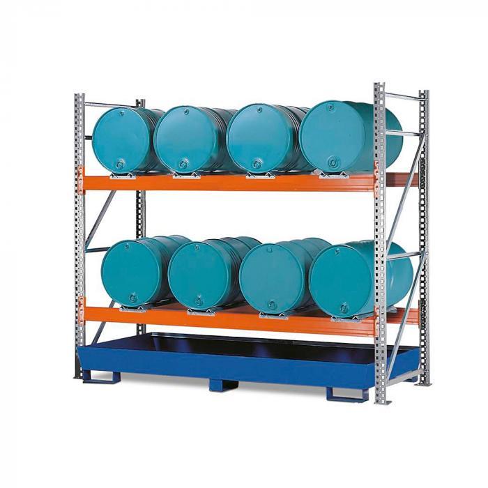 Combi-Regal Typ 2 L8-I - mit Auffangwanne verzinkt oder lackiert - zur Lagerung von liegenden Fässern