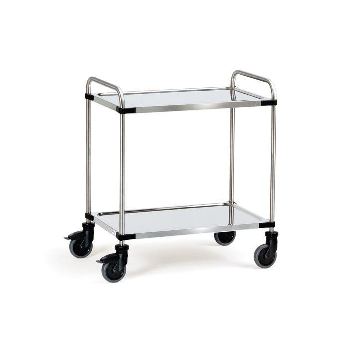 Stainless steel trolley - with tubular push handle and 2 floors