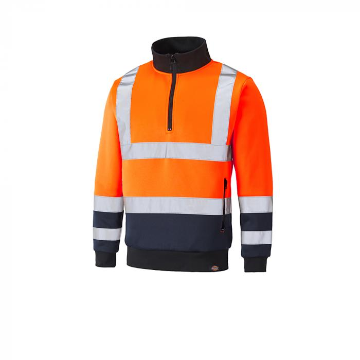 Sweatshirt för blixtlås med blixtlås - Dickies - mycket synlig - tvåfärgad - storlek S till 4XL - orange / marinblå