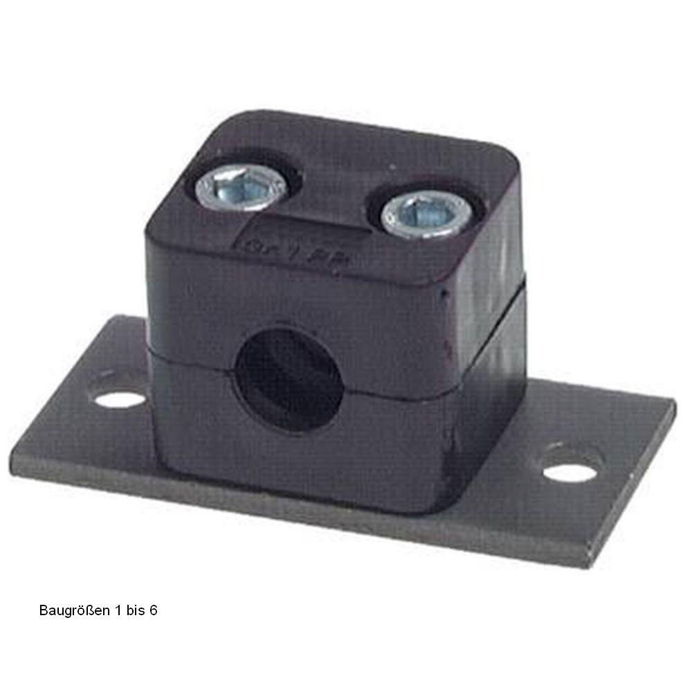 Rohrschelle - Befestigungsplatte - leichte Baureihe 0 bis 6 - Rohr-Ø 6 bis 50,8 mm - Preis per Stück