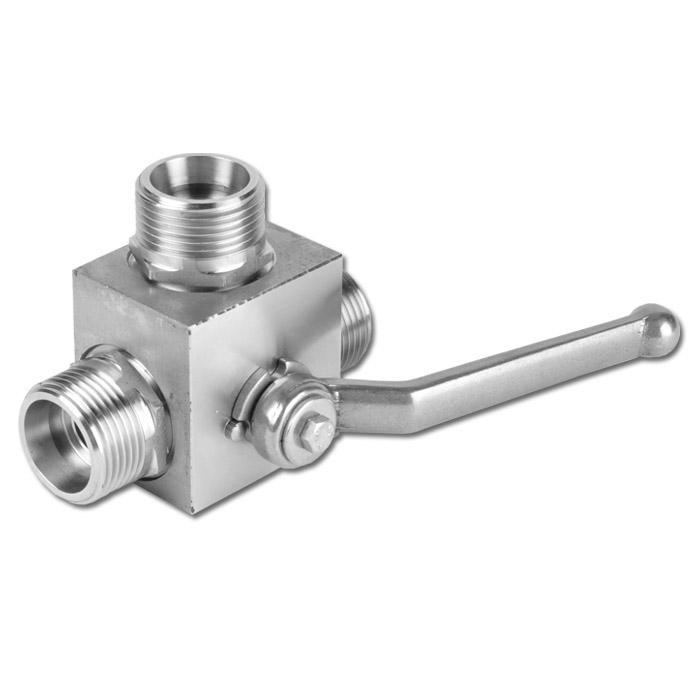 Hochdruck-Kugelhahn - Edelstahl 1.4571 - Schneidringanschluss leichte Baureihe - L-Bohrung - DN 5 bis 35 - PN 0 bis 315