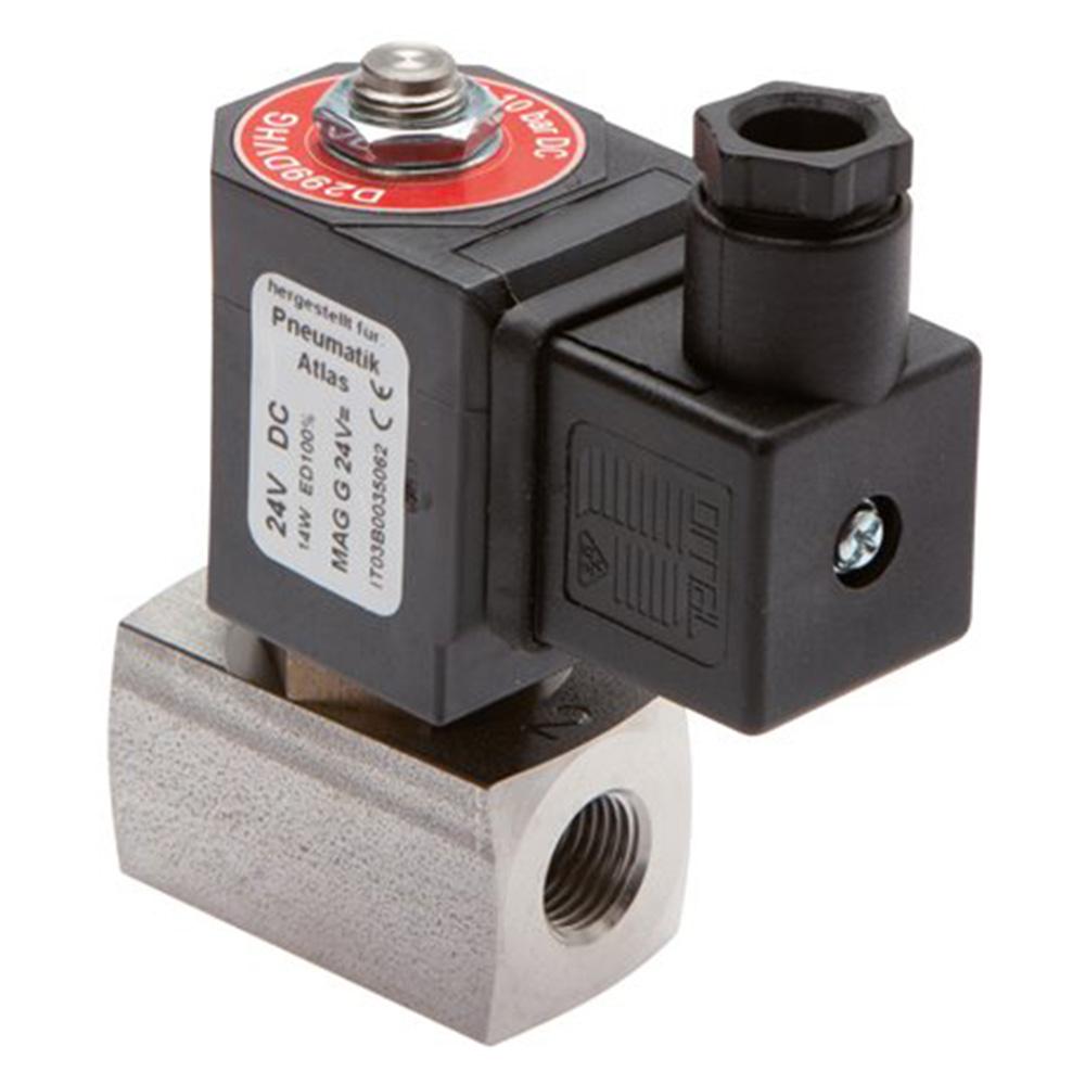 """Électrovanne 2/2 - normalement fermée - acier inoxydable - pour air comprimé, eau et huile - 20 bar - G 1/8"""" à G 2"""""""