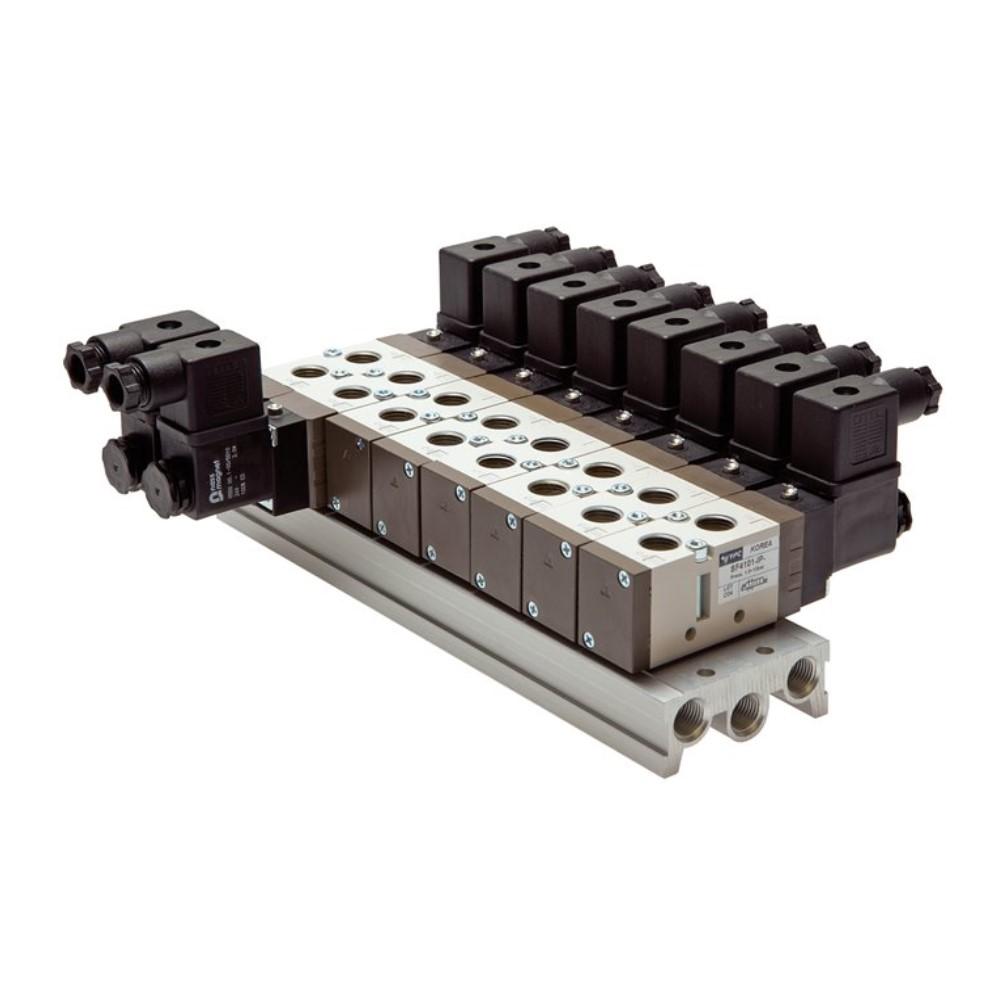 Mehrfachanschlussplatte - für 5/2- und 5/3-Wege-Magnetventile - Aluminium - Baureihe SF4000 - 2 bis 19 Anschlüsse