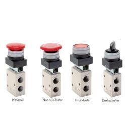 Valve à bouton-poussoir 3/2 voies - bouton-poussoir et interrupteur rotatif 3/2-