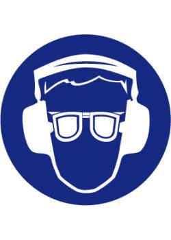 "Påbudsskylt ""skyddsglasögon och hörselskydd"" - Ø 5-40 cm"