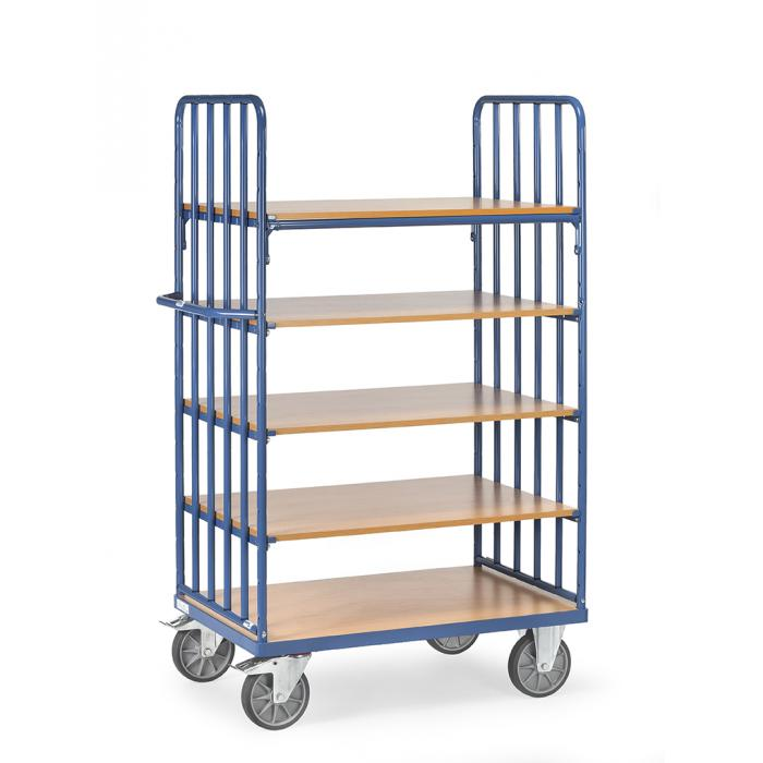 Shelved trolley - with 5 floors of wood - end walls with struts