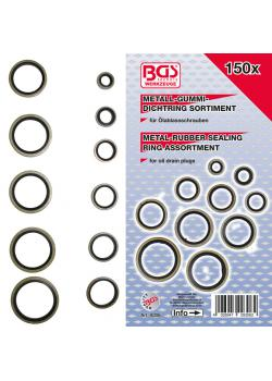 Metal sealing ring assortment - with rubber sealing bead - 150 pcs.