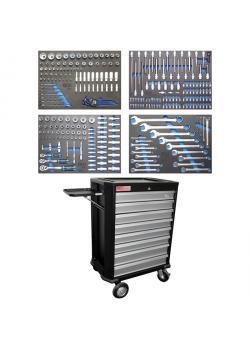 Wózki warsztatowe BGS Profi - z 293 narzędzi - 4 Depozyty - CV ze stali