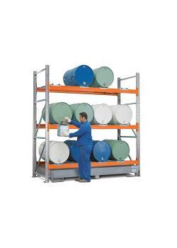 Combi-Regal Typ 3 L12-I - mit Auffangwanne verzinkt oder lackiert - zur Lagerung von liegenden Fässern