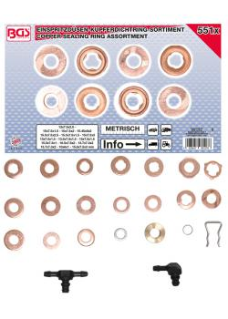Injector copper sealing ring assortment - for different manufacturers - 551 pcs.