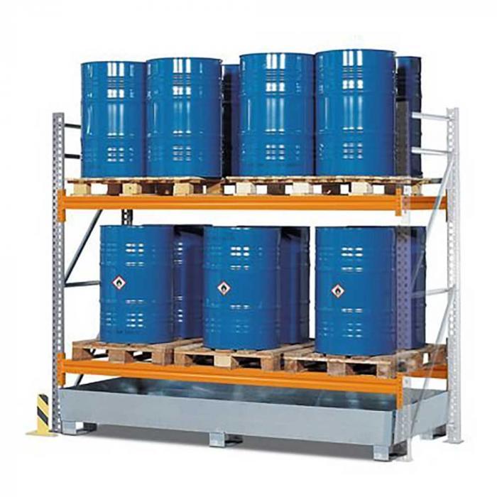 Palettenregal PR 27.25 - für 6 Euro- oder 4 Chemiepaletten - mit 2 Lagerebenen - verschiedene Ausführungen