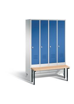C+P Garderobenschrank Classic - mit Sitzbank - Stahl - blau - H 1850 x B 1190 x T 500 mm
