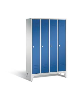C+P Garderobenschrank Classic - Stahl - blau - mit Garderobenstange - H 1850 x B 1190 x T 500 mm