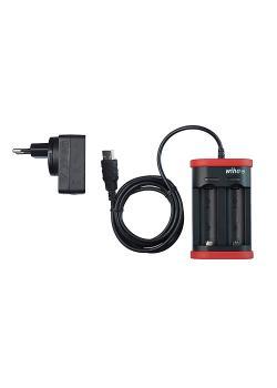 Ladegerät für Akku Typ 18500 Li-Ion - mit USB und Eurostecker