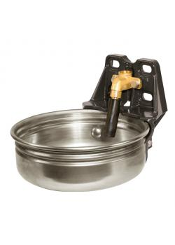 Dricksskål i rostfritt stål med rörventil E21 - Ø 27 cm - höjd 12 cm