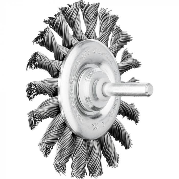 PFERD Rundbürste RBG mit Schaft - Stahldraht - gezopft - Außen-ø 76 bis 100 mm - Besatzmaterial-ø 0,35 und 0,50 mm - VE 10 Stück - Preis per VE