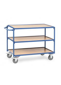 Table trolley - horizontal handle - - 3 floors of wood 300 kg