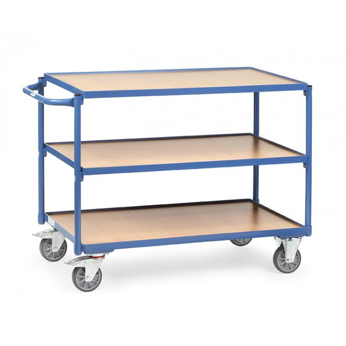 Tableau trolley - poignée horizontale - - 3 étages de bois 300 kg