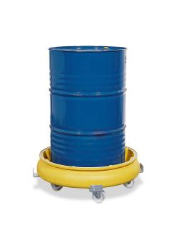 Drum roller with drip pan - polyethylene (PE) - yellow