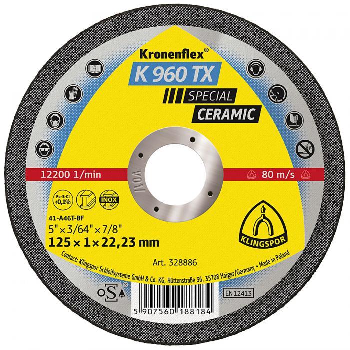 Skärskiva K 960 TX keramik - diameter 115 till 125 mm - bredd 1 mm - borrning 22,23 mm