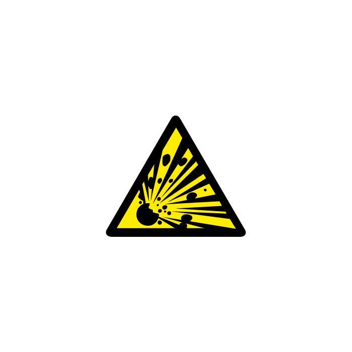 """Varningsskylt """"explosiva ämnen"""" - sidolängd 5-40 cm"""