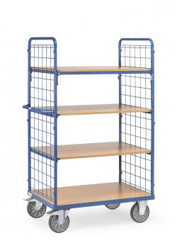Shelved trolley - 4 shelves made of wood - 2 wire mesh walls