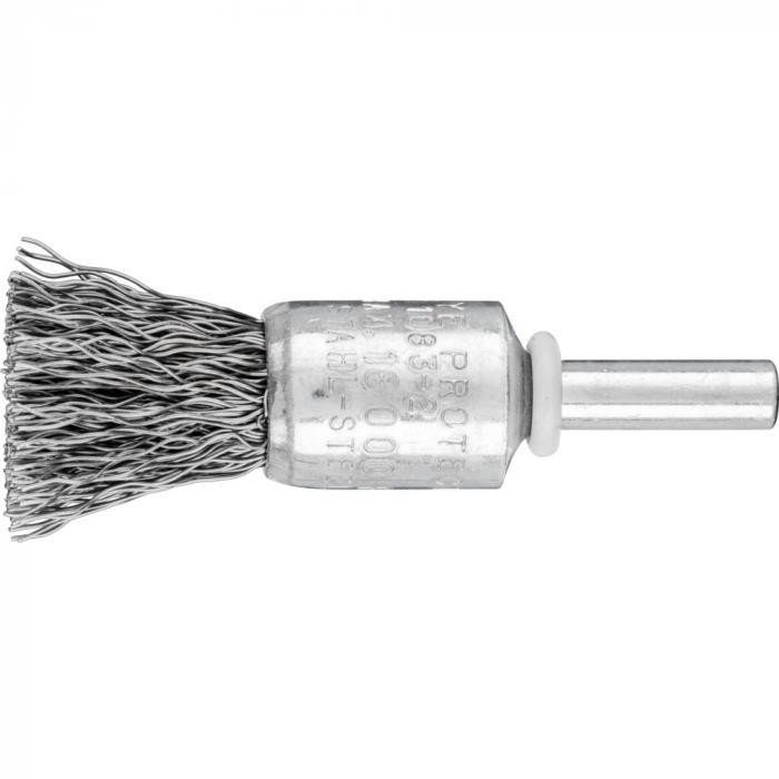 PFERD Pinselbürste PBU mit Schaft - Stahldraht - ungezopft - Außen-ø 10 bis 30 mm - Besatzmaterial-ø 0,20 bis 0,50 mm - VE 10 Stück - Preis per VE