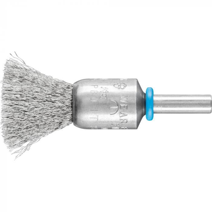 PFERD Pinselbürste PBGS mit Schaft - INOX-TOTAL - ungezopft - Außen-ø 15 und 20 mm - Besatzmaterial-ø 0,15 bis 0,20 mm - VE 10 Stück - Preis per VE
