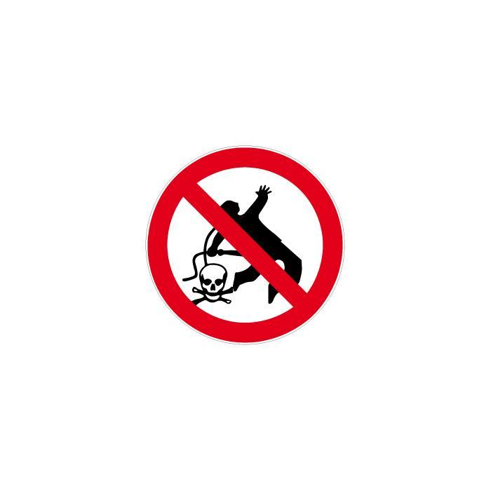 """Verbotszeichen - """"Kleiderreinigung mit Druckluft verboten"""" Durchmesser 5 bis 40"""