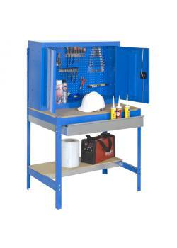 Workbench BT-7 Box - Kapacitet 600 kg - med perforerad vägg, verktygsskåp och låda