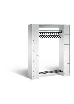 C+P Offene Garderobe - Stahl - hellgrau - mit Schließfächern - Serie 8070 - H 1950 x B 1430 x T 480 mm