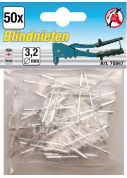 Blind rivets range - aluminum with steel pin - 3.2 mm - 50 pcs.