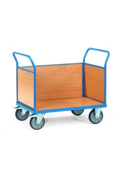 Three trolley - with 3 walls of wood - up to 600 kg