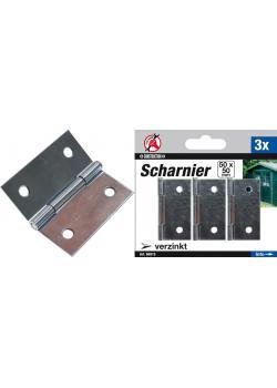 Scharnier-Satz - verzinkt - Maße 50 x 50 mm - 3-tlg.