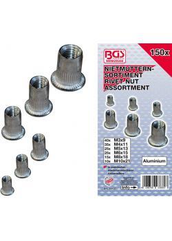 Nietmuttern-Set - Aluminium - 150-tlg.