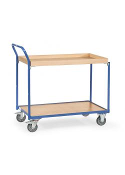 Table trolley - with 1 floor and 1 box of wood - handle high standing