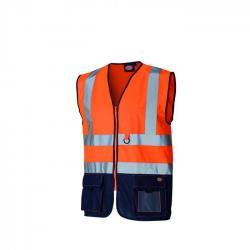 Sicherheitsweste - Dickies - zweifarbig - hochsichtbar - Größe XL - orange/marineblau